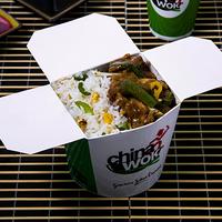 Menú oriental - Wok in box carne mongoliana con arroz chaufán + gaseosa línea Pepsi 350 ml en lata