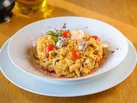Risotto de frutos del mar y tomates cherry