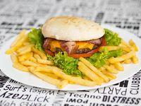 Hamburguesa Manhatan con papas fritas