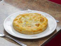 Tarta de berenjena, jamón, queso y cebolla