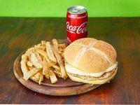 Combo - 1 Hamburugesa de Pollo con Muzzarella + papas fritas + Coca Cola 220 ml