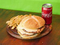 Combo - 1 Hamburgesa pollo doble king con mozza + Papas fritas + Coca Cola 220 ml
