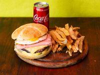 Combo - Hamburguesa doble con cheddar y bacon + papas fritas + Coca Cola 220 ml