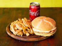 Combo - Hamburugesa de pollo con muzzarella + papas fritas + Coca Cola 220 ml