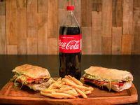 Promo - 2 lomos completos + papas fritas + Coca Cola 1.5 L o Cervezas Andes