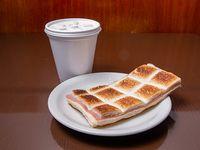 Promo - Café con leche + sándwich de miga de jamón y queso tostado