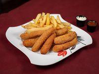 8 Milanesitas de mozzarella con papas fritas