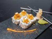 Masaki roll - Queso philadephia, langostino cocido y ananá caramelizada