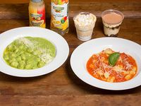 Promoción 1 - 2 Gnocchis  a elección + salsa a elección + 2  postres + 2 bebidas