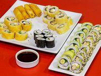 Promo Manía 6 - 4 rolls a elección del chef (32 piezas) + somaki + arrollados primavera (4 unidades)