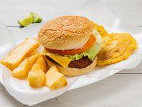 Pescao burger con acompañamiento