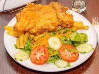Cuarto pollo broaster + papas fritas + ensalada