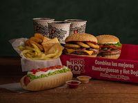 Promo trío box - 3 hot dogs o hamburguesas a elección +  papapleto a elección  + 3 bebidas en lata