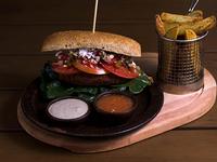 Sándwich vegetariano de croqueta de lentejas