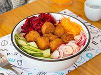 Poke bowl con falafel