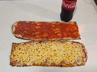 Combo 4 - Pizza (1/2 metro) + Pizza muzzarella (1/2 metro) + bebida línea Coca-Cola 1.5 L