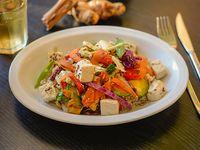 Wok de tofu, vegetales, arroz yamaní y semillas (vegan + sin tacc)