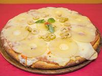 Pizza con ananá y jamón grande