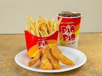 Combo 7 - 4 chicken fingers de pechuga + papitas, arroz con vegetales o puré + soda mediana