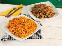 Chop Suey con Espaguetis