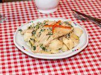 Filet de pescado a la crema de verdeo
