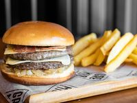 Combo big burger - Doble hamburguesa 130 g de carne + papas fritas