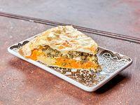 Tarta de espinaca y calabaza (porción)