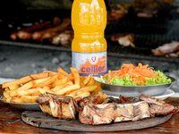 Parrillada + papas fritas + agua saborizada Cellier 1.5 L