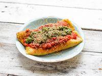 Canelones con panque de garbanzo, calabaza con salsa roja o verde