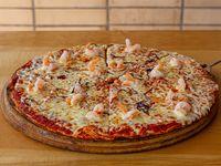 Pizza con camarones al phil phil