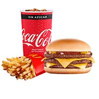 Combo triple hamburguesa con queso