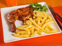 1/4 pollo + papas fritas