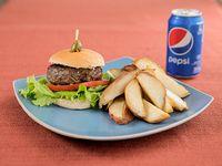 Promoción - Hamburguesa + papas fritas + refresco línea Pepsi 500 ml