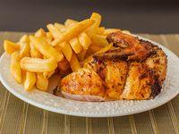 Promo -  1/2 pollo asado + papas fritas medianas (2 personas)