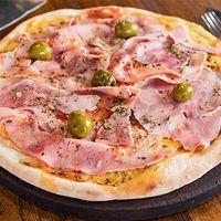 Pizza con mozzarella y jamón cocido natural grande