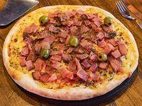 Pizza con mozzarella y panceta grande