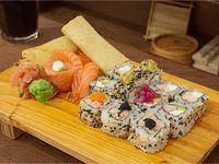 Promo Bento Oki 1 - 14 piezas Eco Variadas + 2 Harumaki + gaseosa de 500 ml
