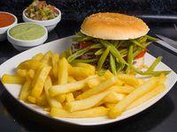 Sándwich chacarero + papas fritas individual + bebida 350 ml