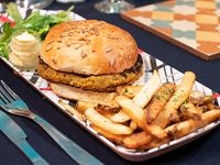 Hamburguesas veggie  con papas fritas