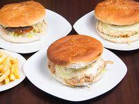 Promo 7 - 3 hamburguesas sencillas + papas fritas + bebida 1.5 L