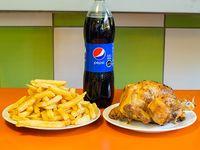 Promo 1 - Pollo entero asado a las brasas + papas fritas familiares para 4 personas + bebida 1.5 L