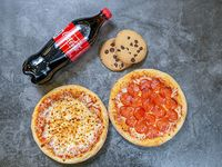 Full Pasiero (2 pizzas de 6 pedazos cada una) + 1 L de Coca Cola + 2 galletas