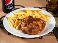 Promo - 1/4 de pollo con papas fritas regular + 3 empanadas cuadradas + bebida en lata 350 ml