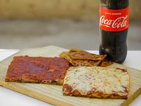 Combo 1 - Pizza + Pizza muzzarella + Fainá + bebida línea Coca-Cola 1.5 L