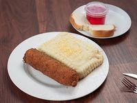 Menú del día -milanesa de pollo rellena con guarnición