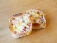 Canastita de jamón, huevo y queso