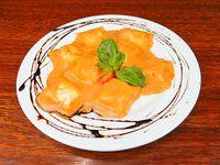 Raviolones de ricota, espinaca y jamón