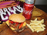 Philly Burger + Papas fritas + bebida
