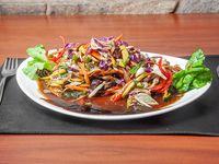 Wok de verduras con lomo
