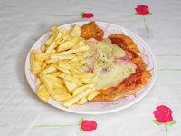 MIlanesa napolitana de pollo con guarnición